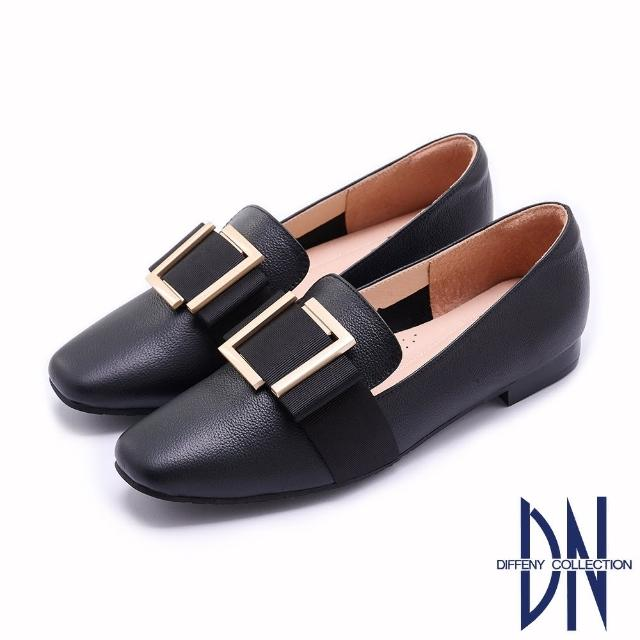 【DN】樂福鞋_MIT牛皮拼接方釦緞面蝴蝶結平底鞋(黑)
