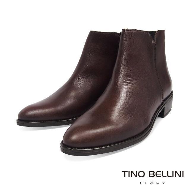 【TINO BELLINI 貝里尼】西班牙進口都會俐落牛皮低跟短靴VI8530(咖啡)