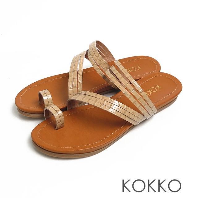 【KOKKO 集團】率性螺旋細帶牛皮平底夾腳拖鞋(鱷魚壓紋駝)