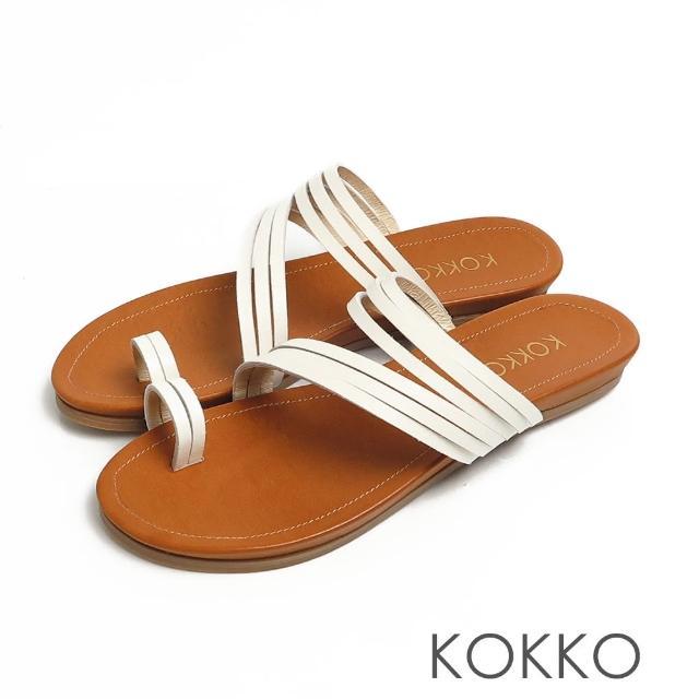 【KOKKO 集團】率性螺旋細帶牛皮平底夾腳拖鞋(奶霜白)