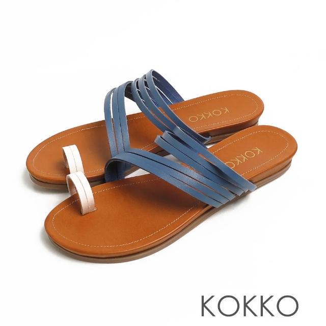 【KOKKO 集團】率性螺旋細帶牛皮平底夾腳拖鞋(經典藍白)