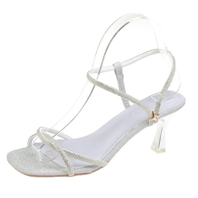 【Taroko】金繽粉彩交叉方頭涼跟鞋(2色可選)