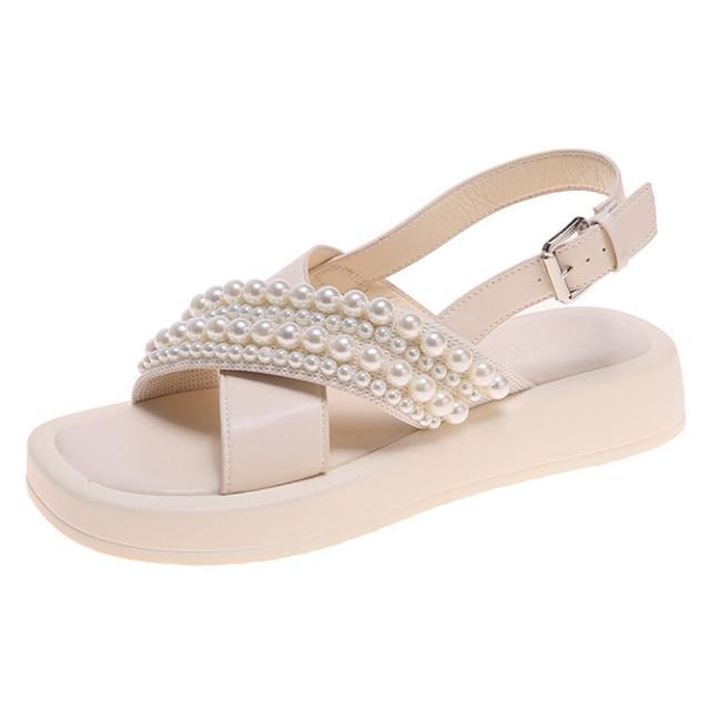 【Taroko】獨創珍珠裝飾交叉厚底搭扣涼鞋(2色可選)