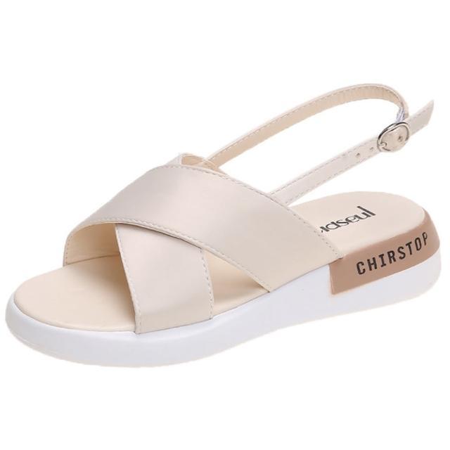 【Taroko】簡約百搭交叉素色厚底搭扣涼鞋(2色可選)