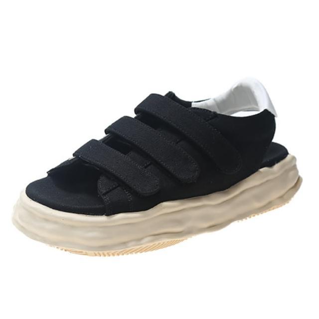 【Taroko】布面魔鬼氈奶油蛋糕底涼鞋(2色可選)