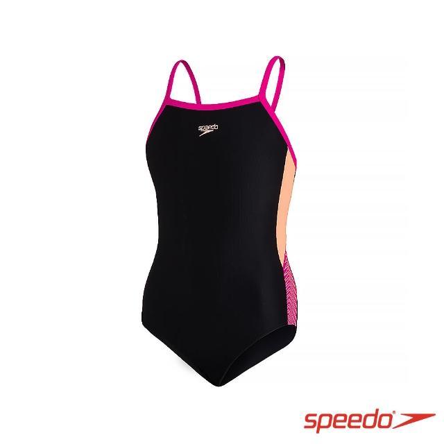 【SPEEDO】女孩 運動連身泳裝 Dive Thinstrap(黑/粉紅/橘)