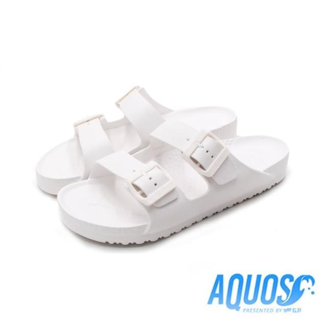 【G.P】女 AQUOS雙色雙帶柏肯防水拖鞋 女鞋(白)