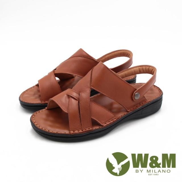 【W&M】男 真皮可拆帶兩用涼拖鞋 男鞋(棕)