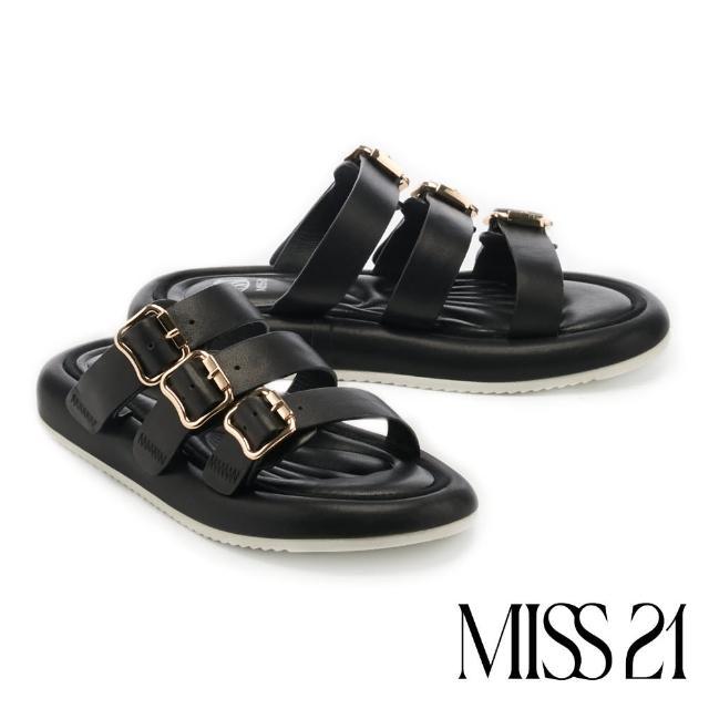 【MISS 21】時髦個性休閒牛皮金屬方釦三條帶厚底拖鞋(黑)
