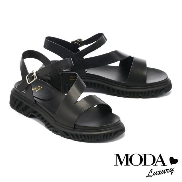 【MODA Luxury】率性極簡厚底低跟涼鞋(黑)