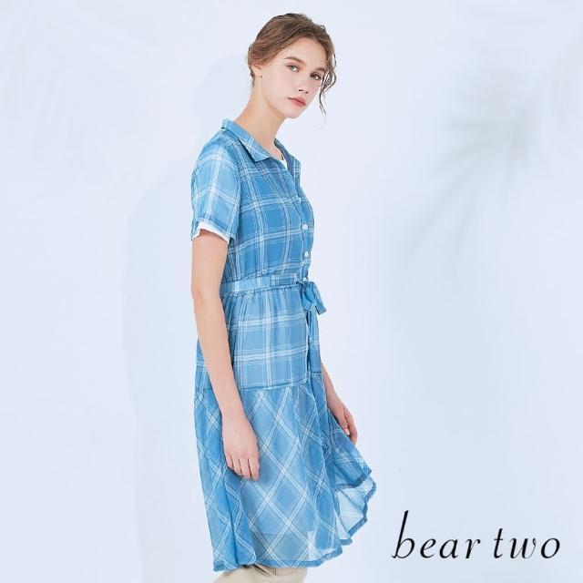 【bear two】襯衫式格紋雪紡綁帶洋裝(兩色)