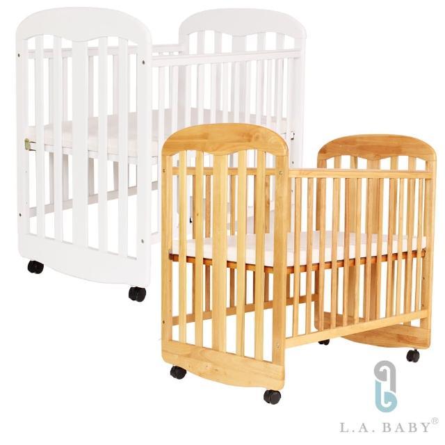 【L.A. Baby】羅德加寬嬰兒小床(白色/原木色)