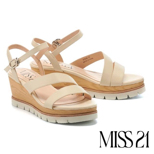 【MISS 21】簡約質感繫帶牛皮楔型高跟涼鞋(米)