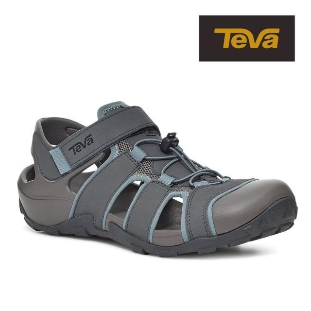 【TEVA】原廠貨 男 Flintwood 護趾快扣冒險者運動涼鞋/雨鞋/水鞋(灰色-TV1118941GREY)