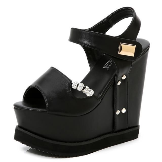 【Taroko】黑白串珠超高坡跟厚底防水台涼鞋(2色可選)