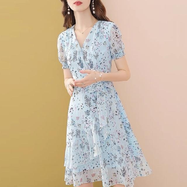 【FQ 時尚天后】天藍繁星花束荷葉裙襬雪紡洋裝(中大尺碼/S-3XL)