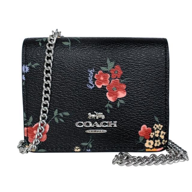 【COACH】PVC花印鍊帶斜背卡夾零錢包(黑底彩花)