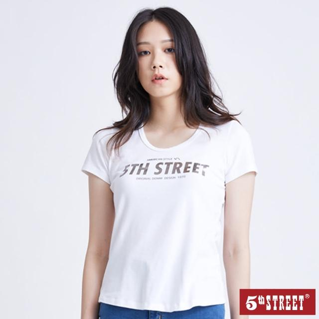 【5th STREET】女燙金粗體LOGO短袖T恤-白色