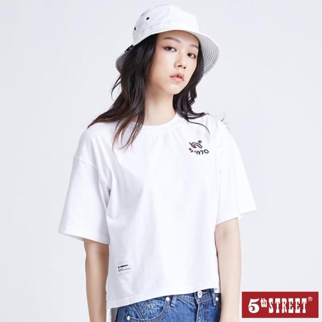 【5th STREET】女落肩1970前短後長短袖T恤-白色