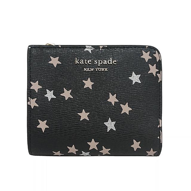 【KATE SPADE】Kate Spade金字LOGO星星雙折式皮革6卡扣式短夾(黑/多色)