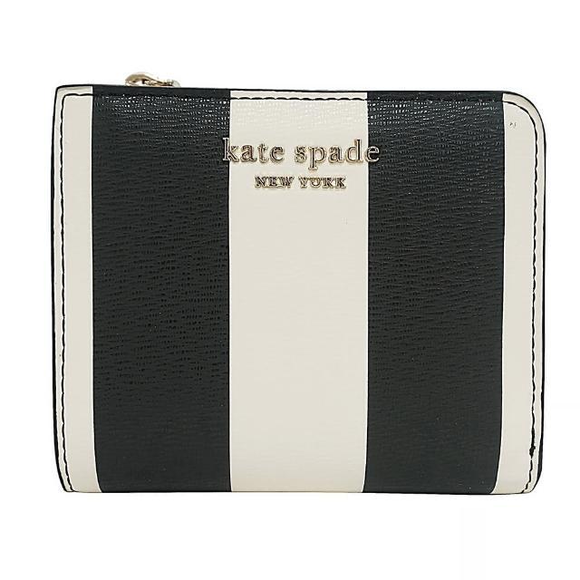 【KATE SPADE】Kate Spade Spencer Stripe金字LOGO條紋設計牛皮12卡拉鍊短夾(黑白x粉紅)