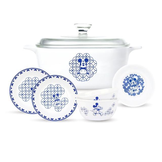 【CorelleBrands 康寧餐具】青花彩米奇5L康寧鍋餐廚6件組
