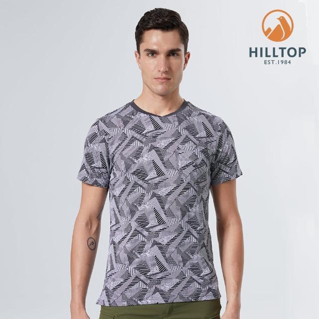 【Hilltop 山頂鳥】男款Polygiene抗菌吸濕快乾印花V領T恤(S04ME0灰)