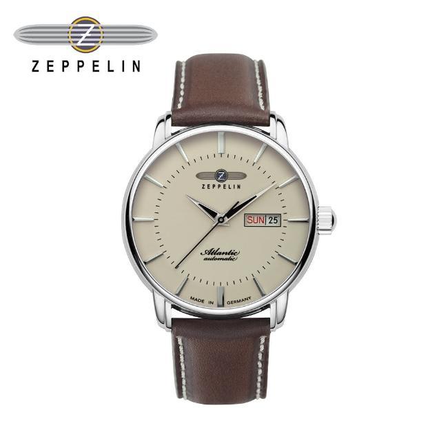 【ZEPPELIN 齊柏林】大西洋米色日週窗機械錶 41mm 男/女錶 自動上鍊 84665