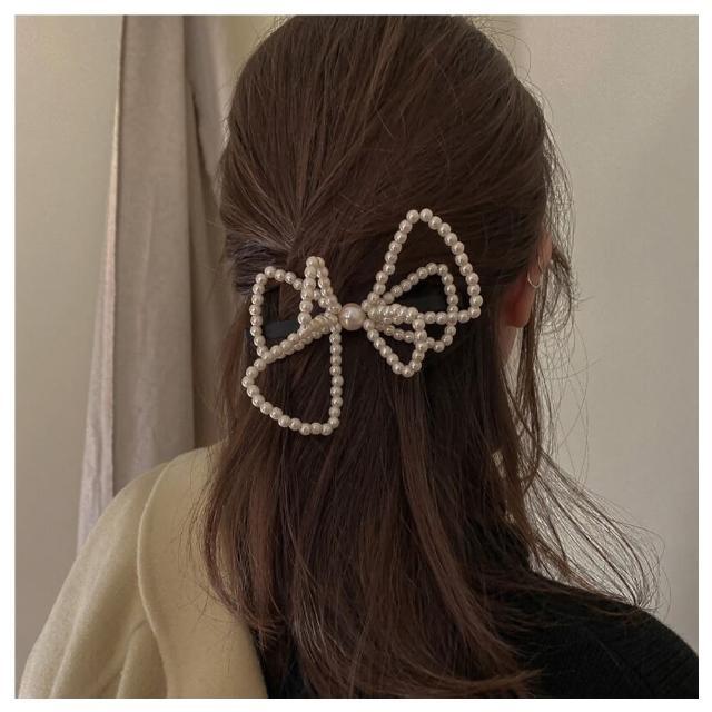 【HaNA 梨花】韓國女明星著用蝴蝶結珍珠.甜美立體髮夾