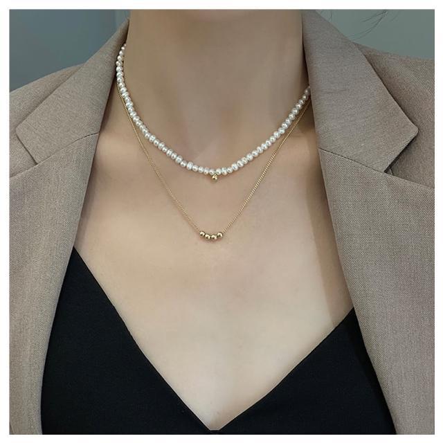 【HaNA 梨花】韓國復古二件套層次.小金球珍珠短項鍊(口罩項鍊)