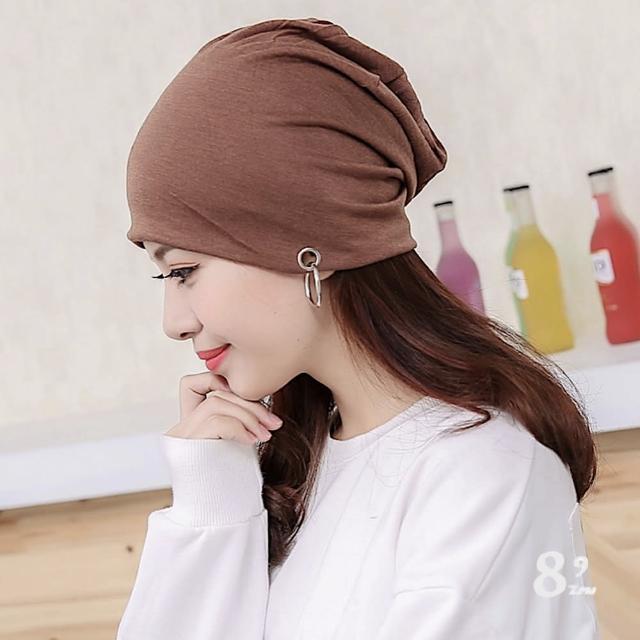 【89 zone】法式優雅鐵環圈耳環透氣薄款防風/頭巾帽(咖啡)