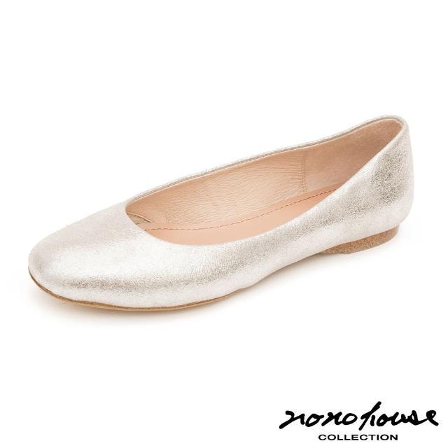 【nono house】MIT綿羊皮簡約知性平底鞋(銀)