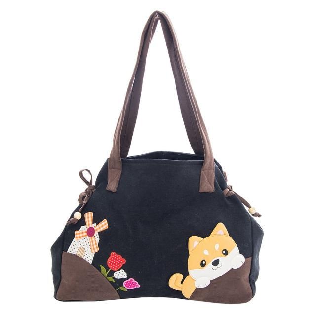 【KIRO 貓】柴犬寶寶 蝴蝶結 綁帶 手提/肩背包/拼布包(810111)