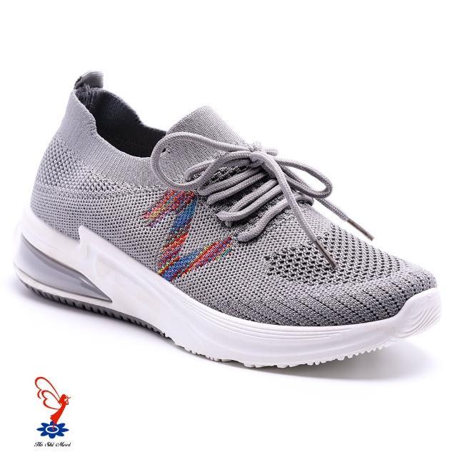 【母子鱷魚】色彩條紋氣墊運動鞋-灰