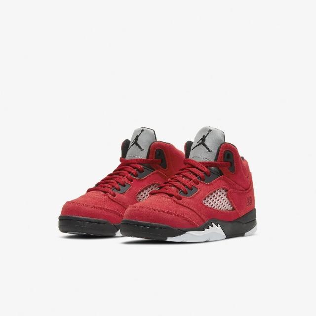 【NIKE 耐吉】籃球鞋 Jordan 5 Retro 運動 童鞋 經典款 喬丹五代 麂皮 中童 球鞋 穿搭 紅 黑(440889-600)