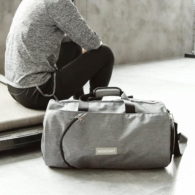 【WEEKEIGHT】圓筒運動型多功能乾濕分離設計手提肩背運動背包/旅行袋(中型)