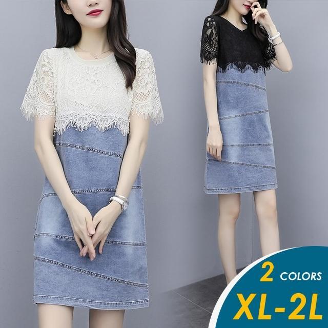 【CHACO】/預購/ 韓系法式名媛質感蕾絲牛仔短袖連身裙#813