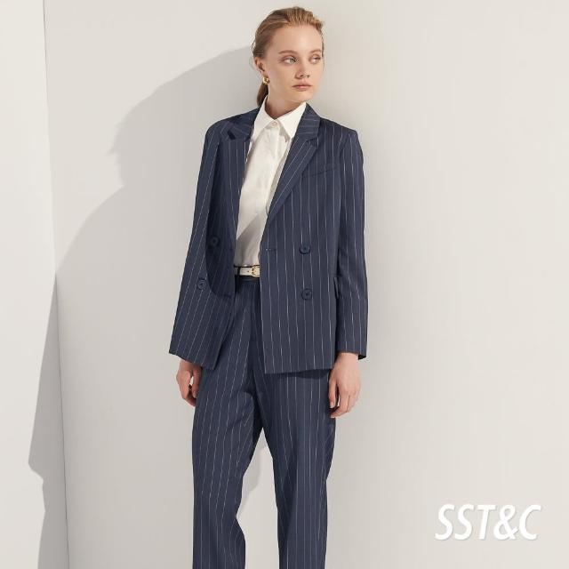 【SST&C】直條紋方領雙排釦西裝外套7162103007