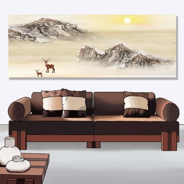 【24mama 掛畫】單聯式 油畫布 風景 山 霧 太陽 動物 景觀 靜思語 無框畫-80x30cm(日出山鹿)