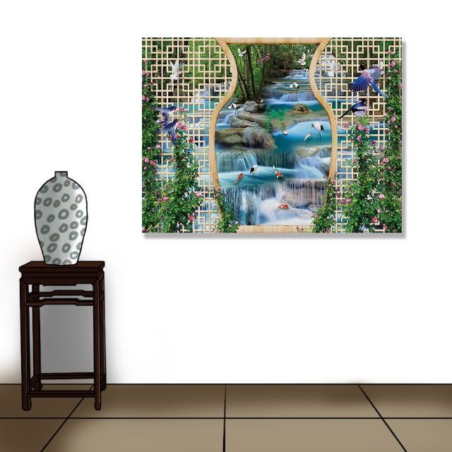 【24mama 掛畫】單聯式 油畫布 動物 鳥 金魚 森林 植物 花卉 無框畫-80x60cm(美麗的瀑布)
