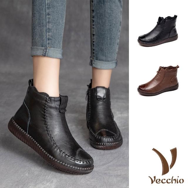 【Vecchio】真皮短靴 平底短靴/真皮頭層牛皮加絨保暖手縫拼接復古平底短靴(2色任選)