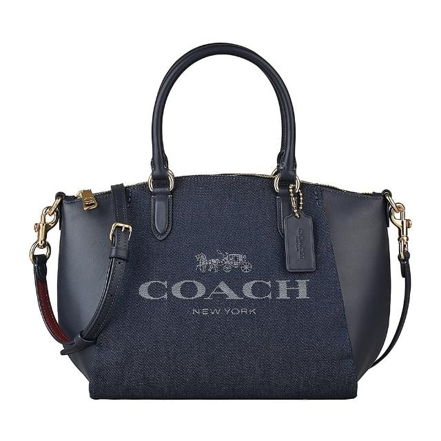 【COACH】COACH專櫃款ELISE藍字刺繡LOGO緹花帆布拼接牛皮拉鍊手提斜背包(丹寧藍)