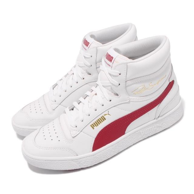【PUMA】休閒鞋 Ralph Sampson 中筒 男女鞋 海外限定 皮革鞋面 金標 情侶鞋穿搭 白 紅(370847-15)