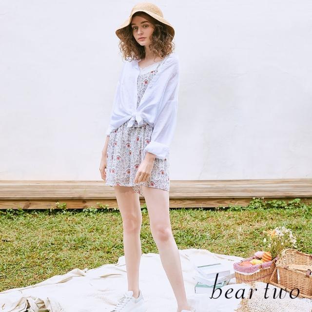 【bear two】佩斯利印花細帶連身短褲(兩色)