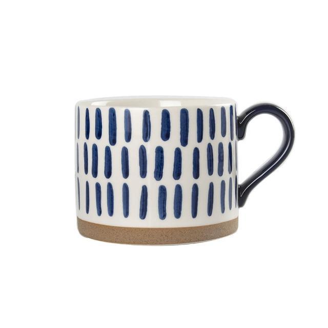 【Royal Duke】復古手繪藍彩系列早餐杯-條紋2入(復古 彩繪 馬克杯 早餐杯 買一送一)