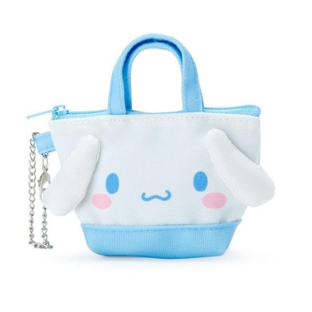 【小禮堂】大耳狗 造型帆布零錢包 掛飾零錢包 耳機包 鑰匙包 《藍 手提袋》
