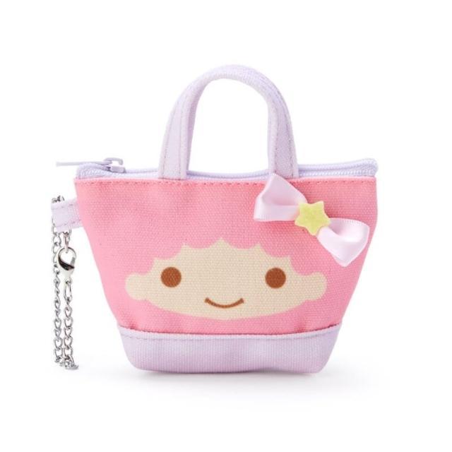 【小禮堂】雙子星 造型帆布零錢包 手提零錢包 掛飾零錢包 鑰匙包 《粉 手提袋》