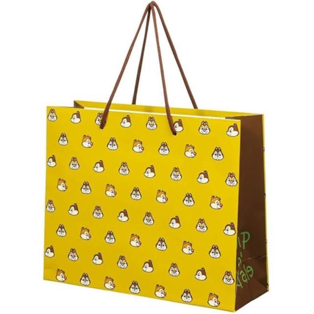 【小禮堂】迪士尼 奇奇蒂蒂 橫式方形手提紙袋 中提袋 禮物紙袋 包裝紙袋 禮品袋 《黃 滿版》