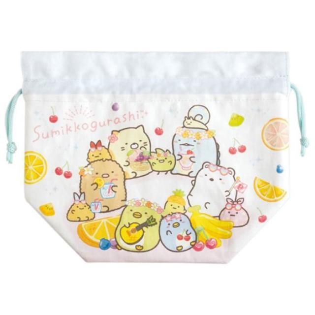 【小禮堂】角落生物 棉質束口便當袋 保冷束口袋 保溫袋 小物袋 縮口袋 《白 水果》