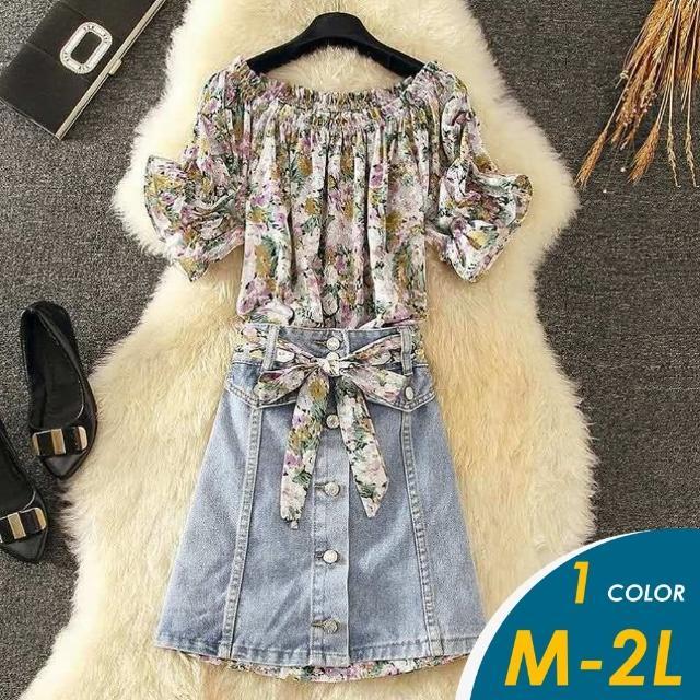 【CHACO】/預購/ 韓系碎花雪紡衫+綁帶排釦牛仔短裙套裝#550